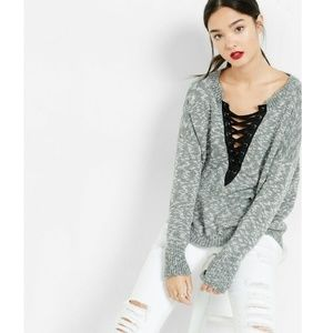Express Lace Up Hi Low Sweater